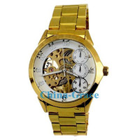 Wholesale New Arrivals Men Cool Gold Mechanical Stainless Steel Watches Fashion Sport Automatic Watch W177