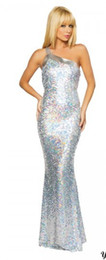 Wholesale NWT Sexy Silver Long Evening Gown One Side Strap Prom Dress