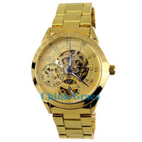 Wholesale Best Quality Men Stainless Steel Gold Automatic Mechanical Watch Modern Skeleton Watches W182