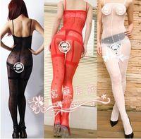 Spandex Bodystocking Free Size New Sexy Women's OL bowknot translucent open-crotch one-piece body silk stockings Lingerie underwear