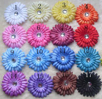 "Hairband Lace Solid 17 Colors 4"" Gerbera Daisy Children's Hair Accessories baby Girls Flower Clip"