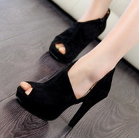 Wholesale 2012 NEW Korea fashion black sexy platform peep toe bootie stiletto heel dress shoes KDP302D