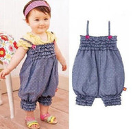 Wholesale Denim harnesses Girls baby dress pieces