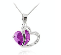 beautiful class - Small jewelry silver Special Class A beautiful amethyst heart bright pendant necklace