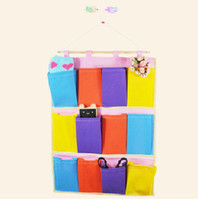 Wholesale Wall door back Hanging Storage Bag Pockets container box holder deco multi colors size L