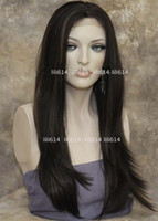 French Lace african wigs wholesale - 2012 NEW Style LACE FRONT WIG Long Straight Dark Brown mix order