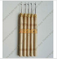 Wholesale Wooden Handle Pulling Needle Micro Rings Loop Needle Hair Extensions Hair Extension Tools