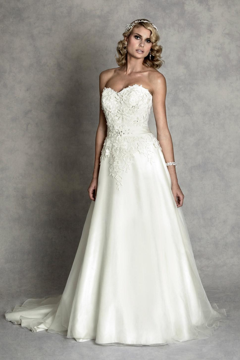 A Beautiful Strapless Guipure Lace And Organza Waisted Gown with ...