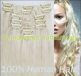 Wholesale 20 quot remy clip in on hair extensions human hair made g set set set mix order