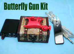 Wholesale Tattoo Kits Red Butterfly Rotary Swashdrive WHIP Tattoo Machine Gun MIN Power Supply amp Gun Box Free