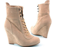 Wholesale Runway Celebrity Suede Lace Up Platform Ankle Boots size