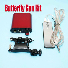 Wholesale Tattoo Gun Kits Butterfly Rotary Swashdrive WHIP Machine amp Hand Size Power Supply Hot
