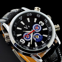 Wholesale 1pcs black leather man watch V6 luxury quartz watch new style big dial wrist watch