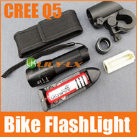 Wholesale CREE Q5 Bike FLASH LIGHT modes Waterproof Free Battery Charge holder bag Bicycle flashlight