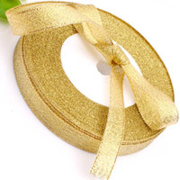 Wholesale 10roll quot mm Golden Glitter Metallic Jewelry Ribbon Gold color yds Roll yds