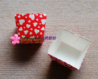 Wholesale 400pcs Red Hot Baking Cup Grey Tiny Muffin Square Cupcake Cups chiffon cake cup case