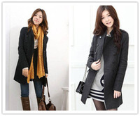 Wholesale New Style women girls slim fit double breasted coat coats overcoat dust coat black grey