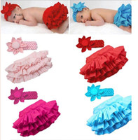 Wholesale Baby Girl s Sassy Fancy Ruffle Bloomers Pants Skirt with Hair Bands Sets Ass Pants Baby Short Pants