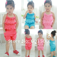 Girl 4T-5T Summer Wholesale 5 Sets, Baby Girls Summer Clothing Set, 2pcs Sets, Vest+Pant