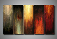 12''x36''x5pcs Ployptych(four+) Abstract 100% handpainted high quality abstract group oil painting canvas canvas wall art sets panel