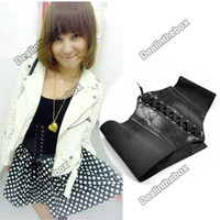 Wholesale 2012 Hot Sale Women s Fashion Stretchy Faux Leather Wide Waist Belt Corset Black Agood