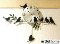 Wholesale High Quality Mute Quartz Little Bird Wall Clock Home Decorative Craft