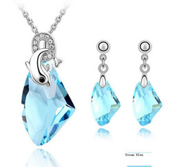 2015 Fashion Jewelry Sets, Romantic Crystal Set ,Swarovski Element Crystal of Earrings and necklace (4 c