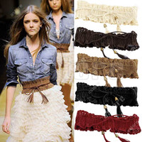 Wholesale 10 Fashion Lady Wide Elastic Stretch Fringe Lace Belt Waistband