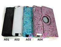 Wholesale 25pcs Leather case Degree Rotating Stand smart Retro Flowers Cover For iPad rd