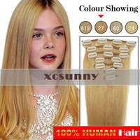 Wholesale XCSUNNY quot quot quot g Clip in Hair Extensions Luxy Remy Human Hair Extension set CE27