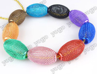 Oval basketball hoops cheap - Cheap Jewelry Loose Beads PC Basketball Wives Hoop Earrings Olive shaped Mesh Beads Mix Colors mm MB1211