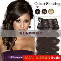 Wholesale 15 quot quot quot g Clip in Hair Extensions Luxy Remy Human Hair Extension set CE34