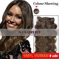 Wholesale 15 quot quot quot g Clip in Hair Extensions Luxy Remy Human Hair Extension set CE35