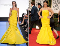 Wholesale Paula Patton Monique Lhuillier Golden Globe Awards Strapless Mermaid Taffeta Celebrity Dresses