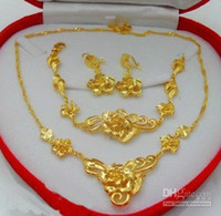 Wholesale Fashion Delicate flowers Bridal jewelry sets K gold plated Necklace bracelet studs