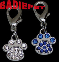 Wholesale 3Colors Hot Selling Luxury Diamond Paw Print Dog Cat Pet Dangle Charm Dog Jewelry Pet Pendant Tag