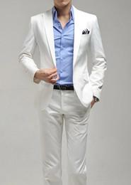 Wholesale hot men s suits pant white color button wedding suits business dress