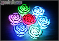 Wholesale 7 Changing Color LED Floating rose Flower Candle light Electronic lamp chirstmas gift