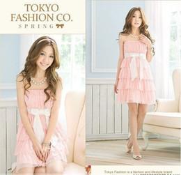 Wholesale Robe en mousseline Sweatheart femmes Corée Tokyo avec Sash Sheety Blanc Rose Violet Robes simples