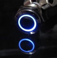 Wholesale 12V Metal Switch Latching Push Button Blue Led Car mm