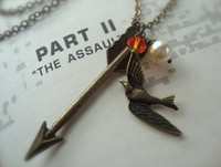 Wholesale HUNGER GAMES INSPIRED ARROW WITH MOCKINGJAY PEARL NECKLACE NW117