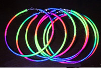 Wholesale Retro Neon gradient Rainbow circle fluorescent earrings Hot models HIPHOP DS pairs