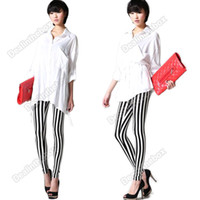 Wholesale Fashion Lady Sexy Black amp White Zebra Vertical Stripes Tights Leggings Trousers