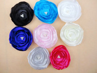 "flower head satin Floral Trial order 3""Layered Satin Flower Fabric Flowers Triple Pearls 40pcs lot"