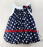 Wholesale EMS DHL Amissa Navy cotton Dress toddlers Baby Girls Polka Dot summer Dress One piec