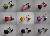 Wholesale 10pairs Mix Color Cloth Cover French Cufflinks Mens Stainless Steel Wedding Shirt Cuff Links Buttons