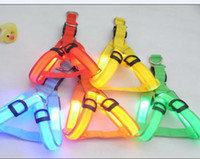 Wholesale Glow LED Flashing Light Dog collar Pet Belt Harness Leash Tether dog supplies leashes H8257 colors
