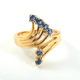 Free Shipping EXQUISITE 1.2CT SAPPHIRE 14KT YELLOW GOLD GEMSTONE RING -SY019