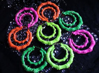 Alloy bamboo earrings - Fluorescent colors big earrings Bamboo earrings Large exaggeration HIPHOP singer pairs