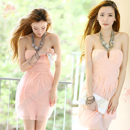 Wholesale Women s Summer Sexy Pink Strapless Cocktail Party Club Evening Races Dress Size S M Adeal